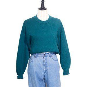 "Vintage ""Jerzees"" Cotton Blend Green Sweatshirt"